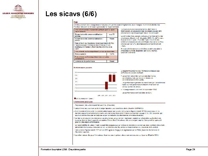 Les sicavs (6/6) Formation boursière LSM : Deuxième partie Page 24