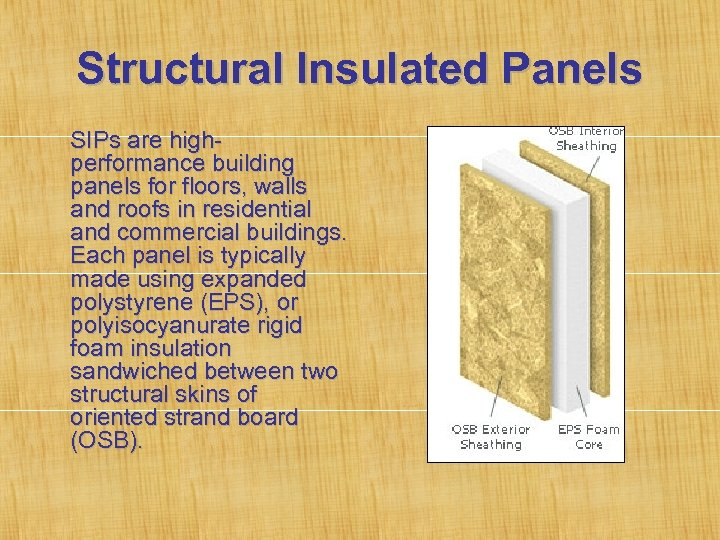 Structural Insulated Panels SIPs are highperformance building panels for floors, walls and roofs in