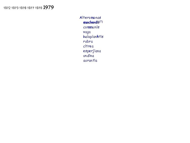 1972 1973 1976 1977 1978 1979 Alteromonas macleodii(T) communis vaga haloplanktis rubra citrea esperjiana