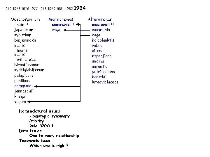 1972 1973 1976 1977 1978 1979 1981 1982 1984 Oceanosprillum linum(T) japonicum minutium biejerinckii