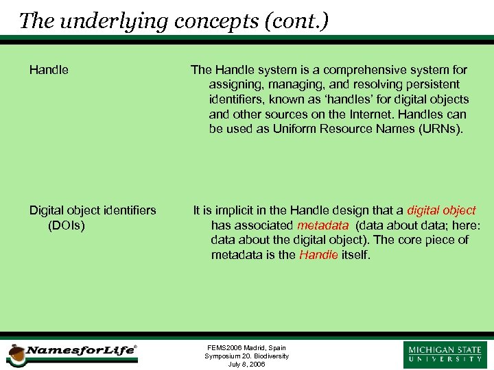The underlying concepts (cont. ) Handle The Handle system is a comprehensive system for