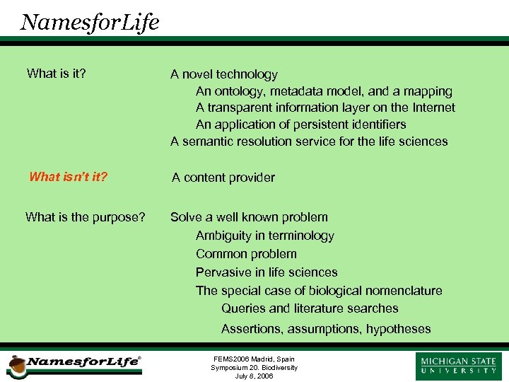 Namesfor. Life What is it? A novel technology An ontology, metadata model, and a