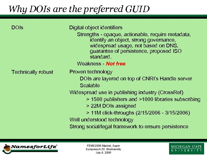 Why DOIs are the preferred GUID DOIs Digital object identifiers Strengths - opaque, actionable,