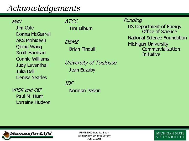 Acknowledgements MSU Jim Cole Donna Mc. Garrell AKS Mohideen Qiong Wang Scott Harrison Connie