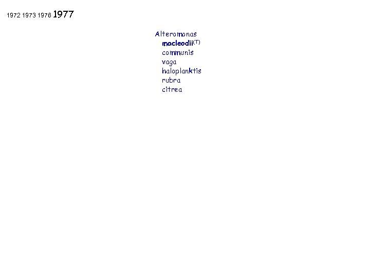1972 1973 1976 1977 Alteromonas macleodii(T) communis vaga haloplanktis rubra citrea FEMS 2006 Madrid,