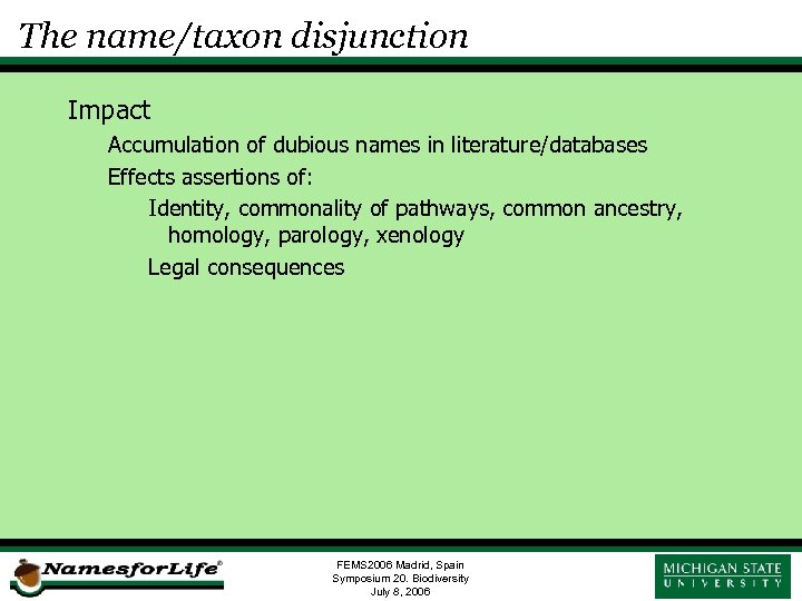 The name/taxon disjunction Impact Accumulation of dubious names in literature/databases Effects assertions of: Identity,