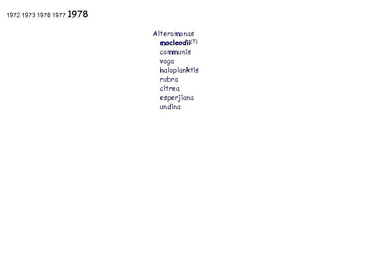 1972 1973 1976 1977 1978 Alteromonas macleodii(T) communis vaga haloplanktis rubra citrea esperjiana undina