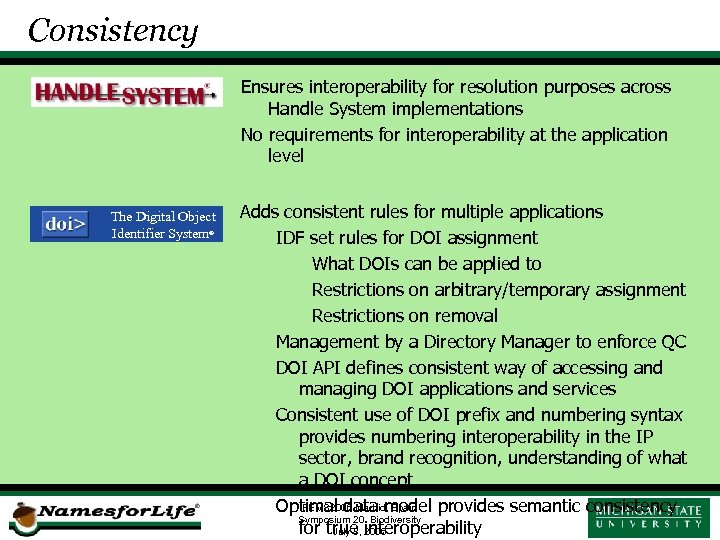 Consistency Ensures interoperability for resolution purposes across Handle System implementations No requirements for interoperability