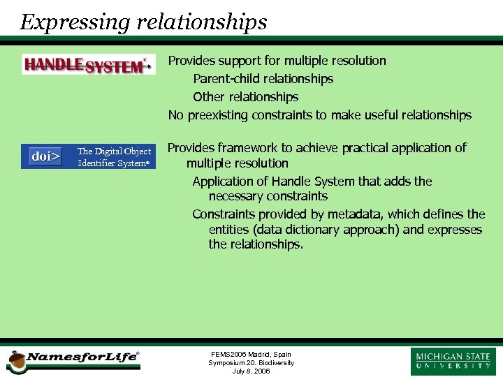 Expressing relationships Provides support for multiple resolution Parent-child relationships Other relationships No preexisting constraints