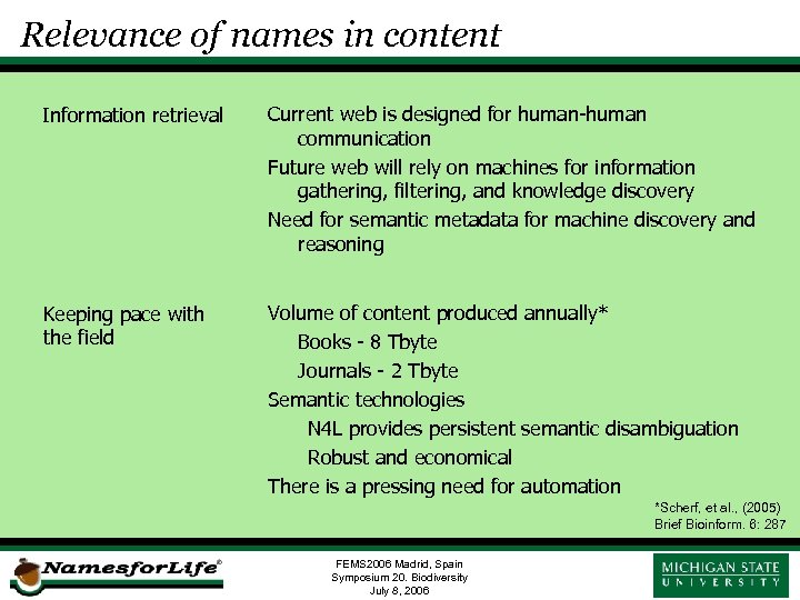 Relevance of names in content Information retrieval Current web is designed for human-human communication