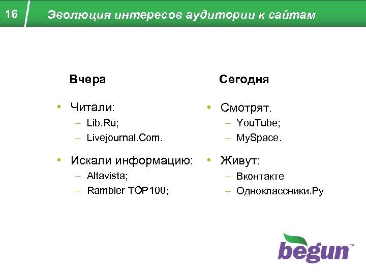 16 Эволюция интересов аудитории к сайтам Вчера • Читали: – Lib. Ru; – Livejournal.