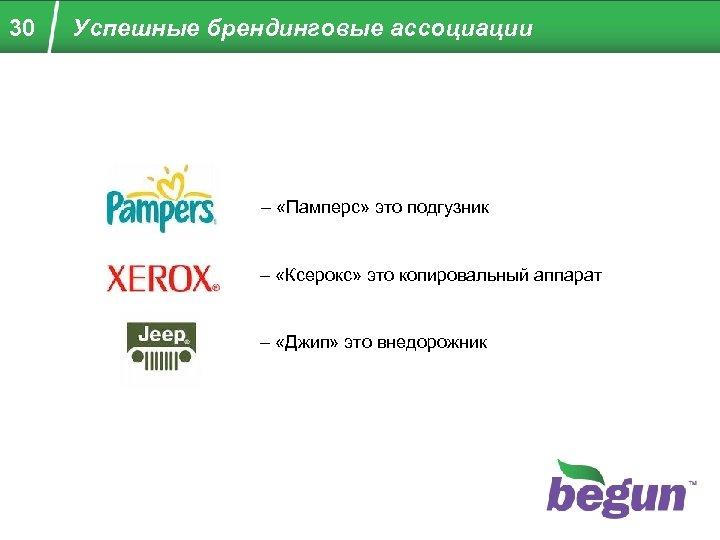 30 Успешные брендинговые ассоциации – «Памперс» это подгузник – «Ксерокс» это копировальный аппарат –