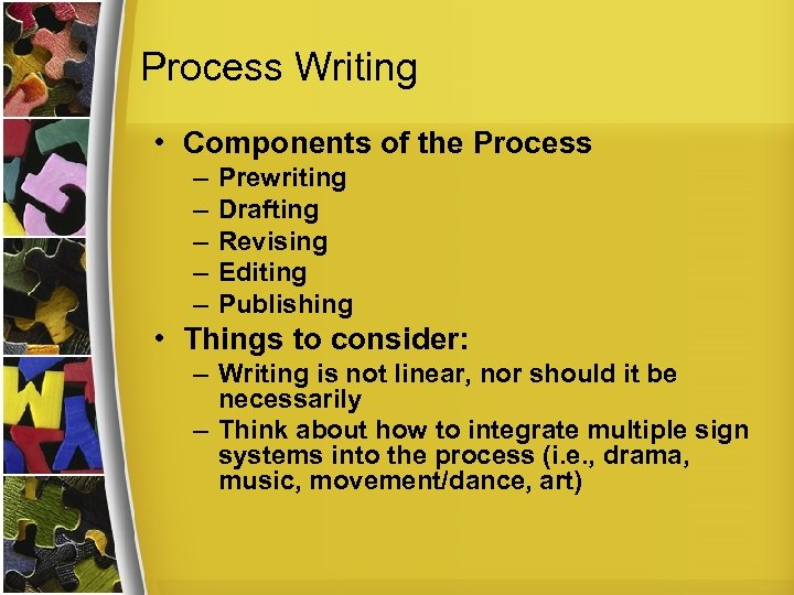 Process Writing • Components of the Process – – – Prewriting Drafting Revising Editing