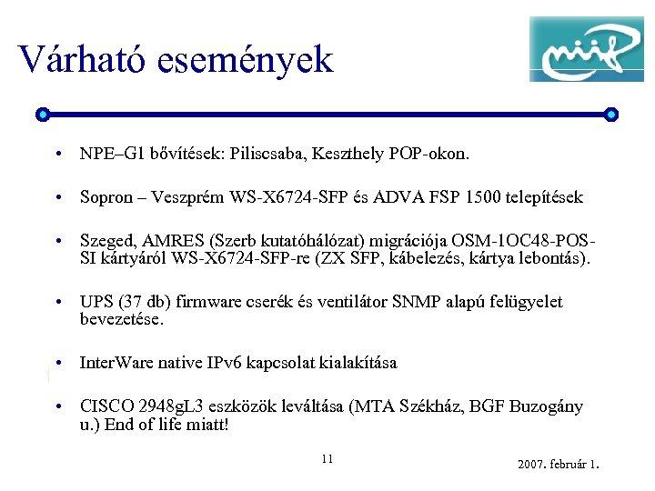 Várható események • NPE–G 1 bővítések: Piliscsaba, Keszthely POP-okon. • Sopron – Veszprém WS-X