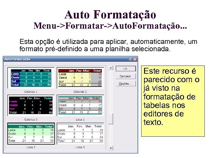 Auto Formatação Menu->Formatar->Auto. Formatação. . . Esta opção é utilizada para aplicar, automaticamente, um