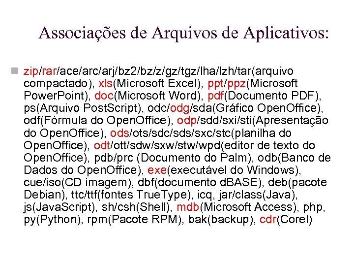 Associações de Arquivos de Aplicativos: zip/rar/ace/arc/arj/bz 2/bz/z/gz/tgz/lha/lzh/tar(arquivo compactado), xls(Microsoft Excel), ppt/ppz(Microsoft Power. Point), doc(Microsoft