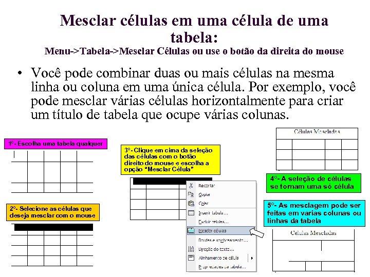 Mesclar células em uma célula de uma tabela: Menu->Tabela->Mesclar Células ou use o botão