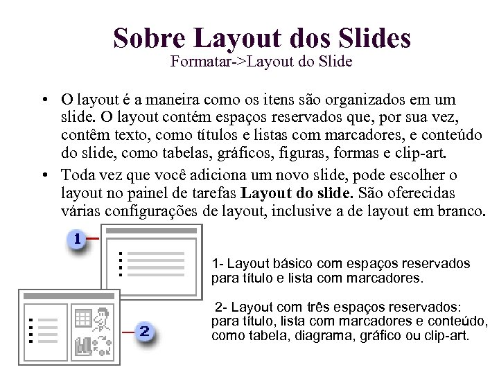 Sobre Layout dos Slides Formatar->Layout do Slide • O layout é a maneira como