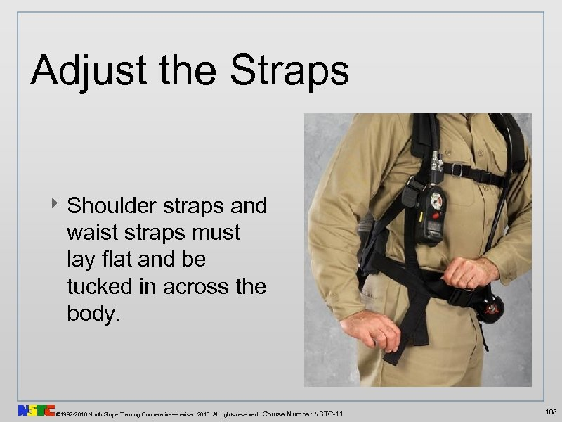 Adjust the Straps ‣ Shoulder straps and waist straps must lay flat and be