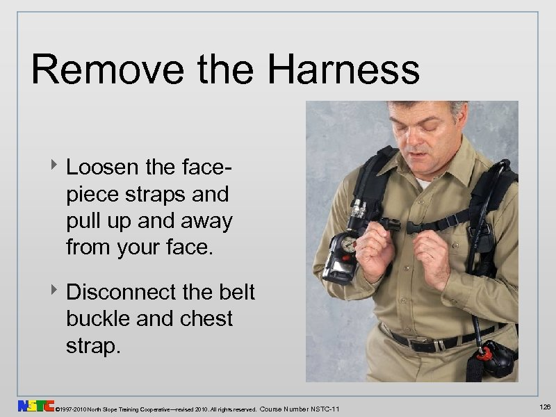 Remove the Harness ‣ Loosen the facepiece straps and pull up and away from