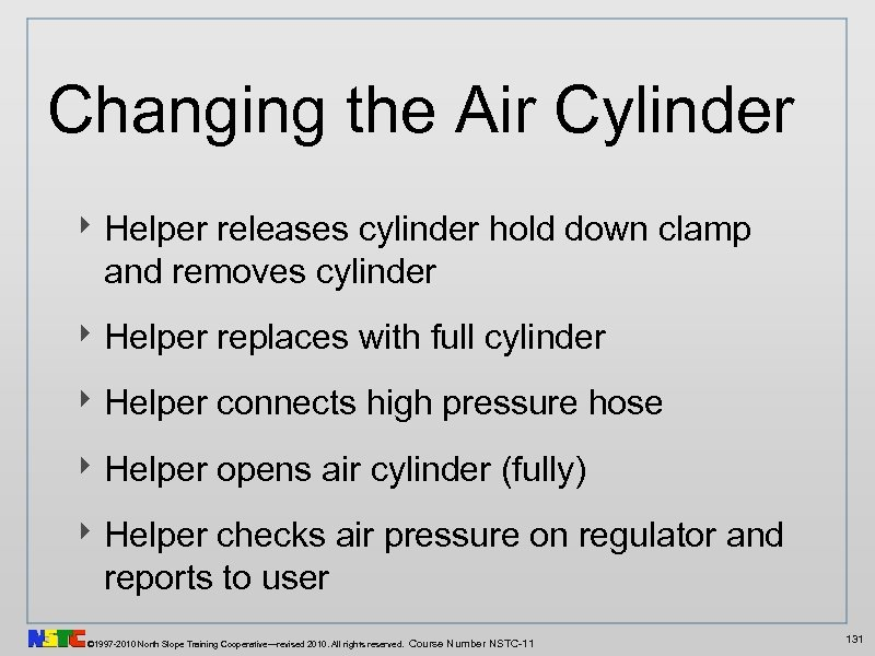 Changing the Air Cylinder ‣ Helper releases cylinder hold down clamp and removes cylinder