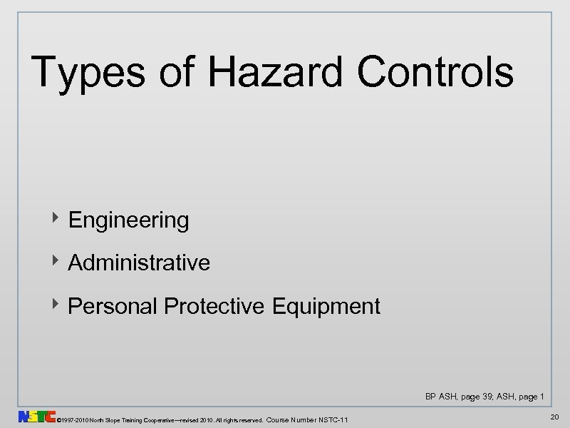 Types of Hazard Controls ‣ Engineering ‣ Administrative ‣ Personal Protective Equipment BP ASH,