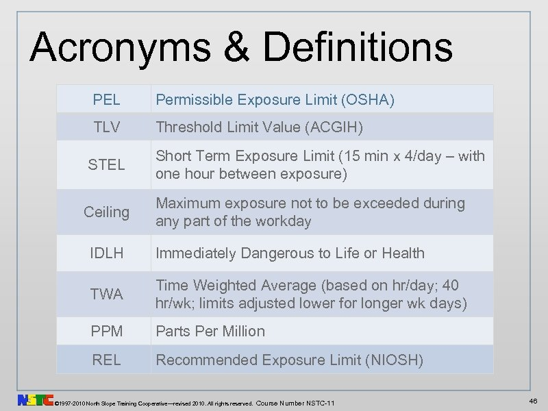 Acronyms & Definitions PEL Permissible Exposure Limit (OSHA) TLV Threshold Limit Value (ACGIH) STEL