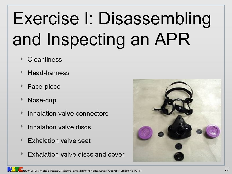 Exercise I: Disassembling and Inspecting an APR ‣ Cleanliness ‣ Head-harness ‣ Face-piece ‣