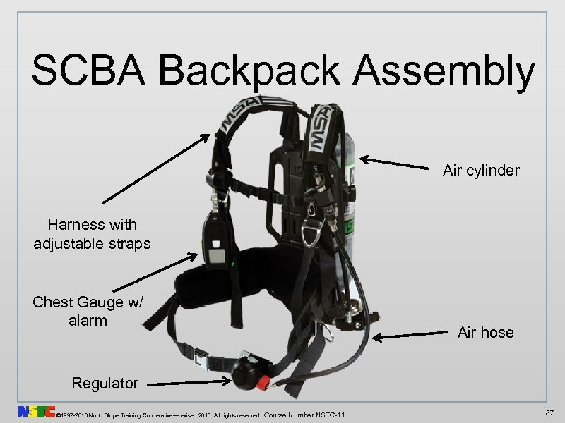 SCBA Backpack Assembly Air cylinder Harness with adjustable straps Chest Gauge w/ alarm Air