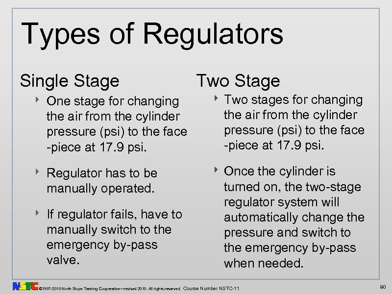 Types of Regulators Single Stage Two Stage ‣ One stage for changing the air