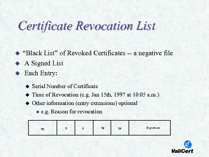 "Certificate Revocation List u u u ""Black List"" of Revoked Certificates -- a negative"