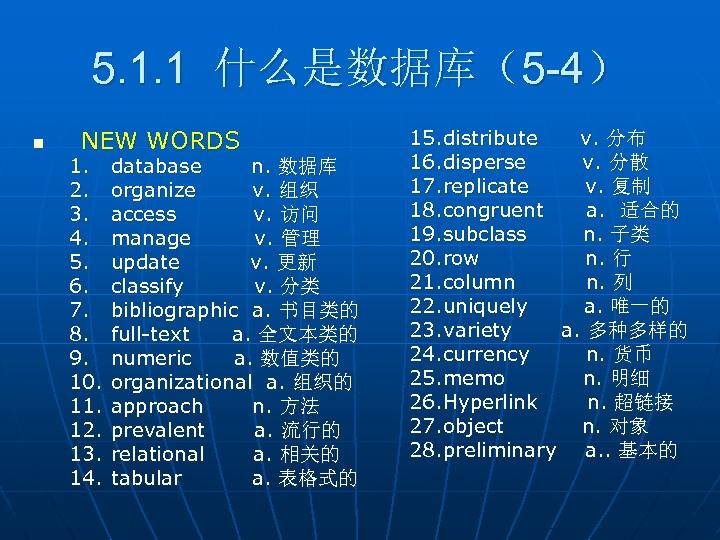 5. 1. 1 什么是数据库(5 -4) n NEW WORDS 1. 2. 3. 4. 5. 6.