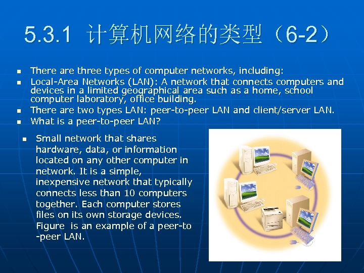 5. 3. 1 计算机网络的类型(6 -2) There are three types of computer networks, including: Local-Area