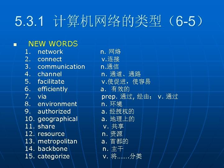 5. 3. 1 计算机网络的类型(6 -5) n NEW WORDS 1. 2. 3. 4. 5. 6.
