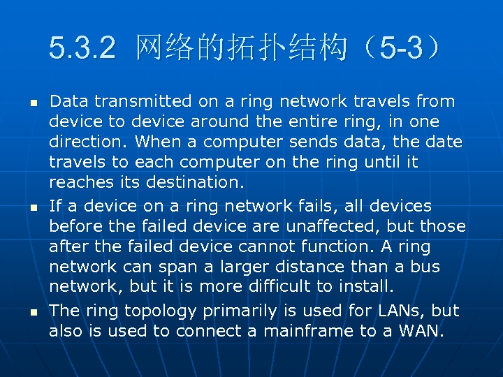5. 3. 2 网络的拓扑结构(5 -3) n n n Data transmitted on a ring network