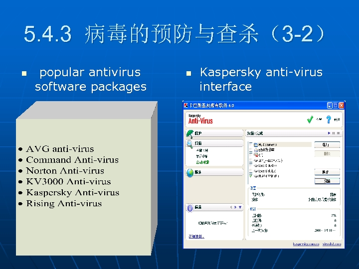 5. 4. 3 病毒的预防与查杀(3 -2) n popular antivirus software packages n Kaspersky anti-virus interface