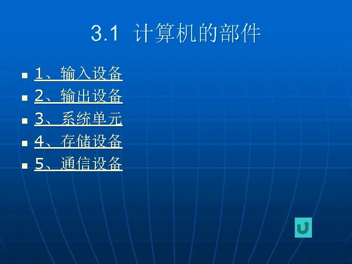 3. 1 计算机的部件 n n n 1、输入设备 2、输出设备 3、系统单元 4、存储设备 5、通信设备