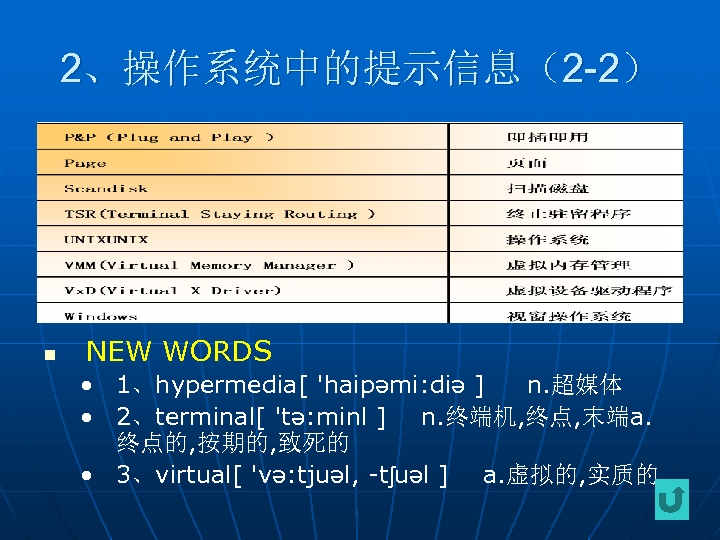 2、操作系统中的提示信息(2 -2) n NEW WORDS • 1、hypermedia[ 'haipəmi: diə ] n. 超媒体 • 2、terminal[
