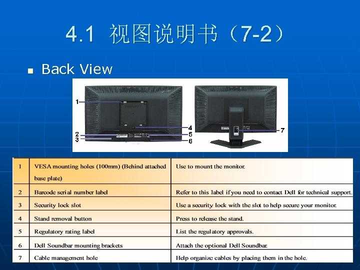 4. 1 视图说明书(7 -2) n Back View