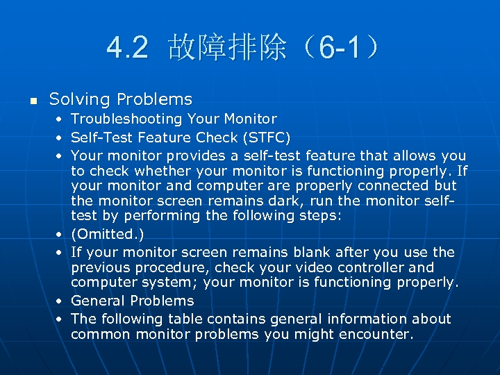 4. 2 故障排除(6 -1) n Solving Problems • Troubleshooting Your Monitor • Self-Test Feature