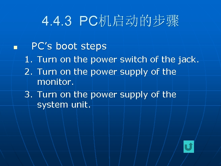 4. 4. 3 PC机启动的步骤 n PC's boot steps 1. Turn on the power switch