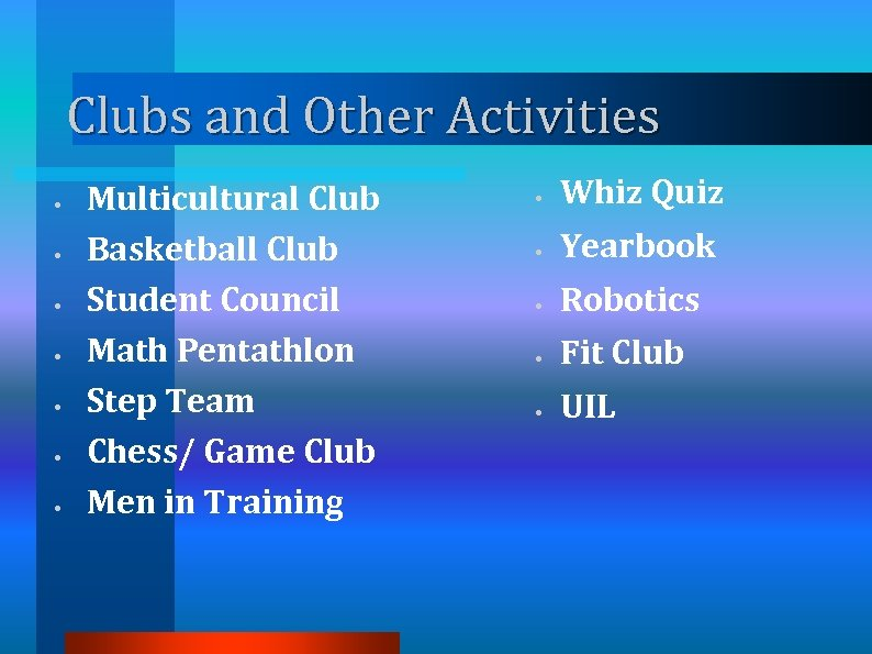 Clubs and Other Activities • • Multicultural Club Basketball Club Student Council Math Pentathlon