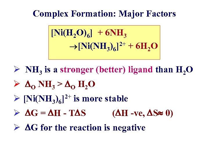 Complex Formation: Major Factors [Ni(H 2 O)6] + 6 NH 3 [Ni(NH 3)6]2+ +