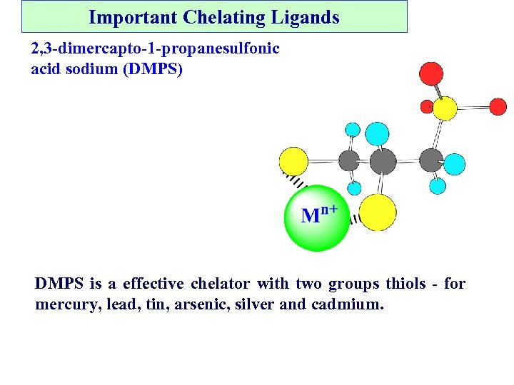 Important Chelating Ligands 2, 3 -dimercapto-1 -propanesulfonic acid sodium (DMPS) DMPS is a effective