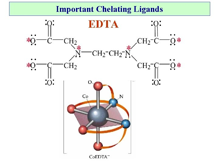 Important Chelating Ligands EDTA * * *