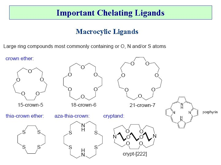 Important Chelating Ligands Macrocylic Ligands