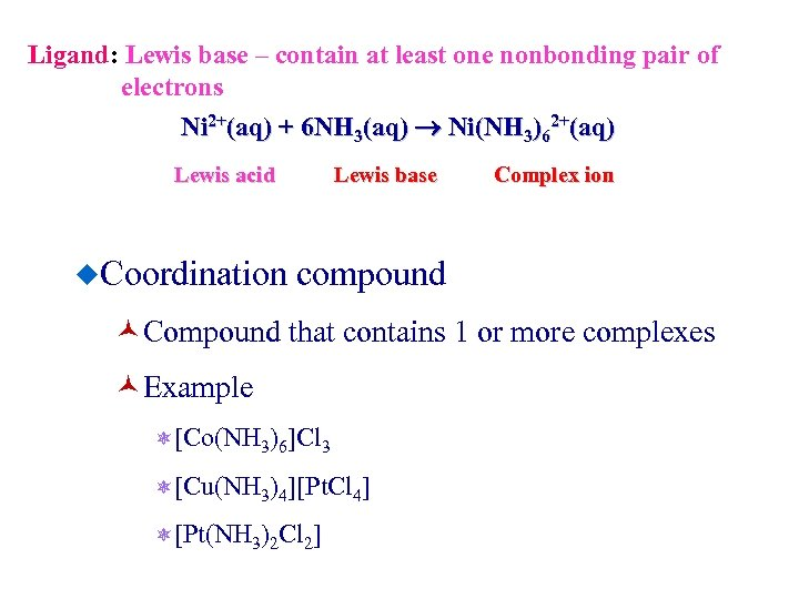 Ligand: Lewis base – contain at least one nonbonding pair of electrons Ni 2+(aq)