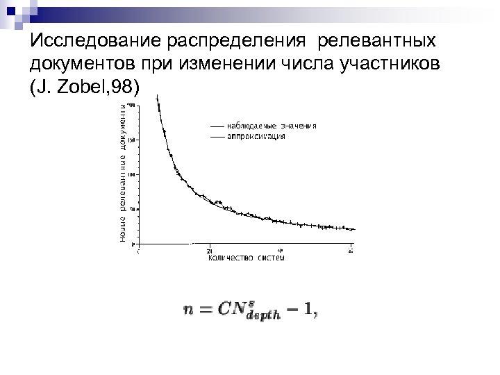 Исследование распределения релевантных документов при изменении числа участников (J. Zobel, 98)