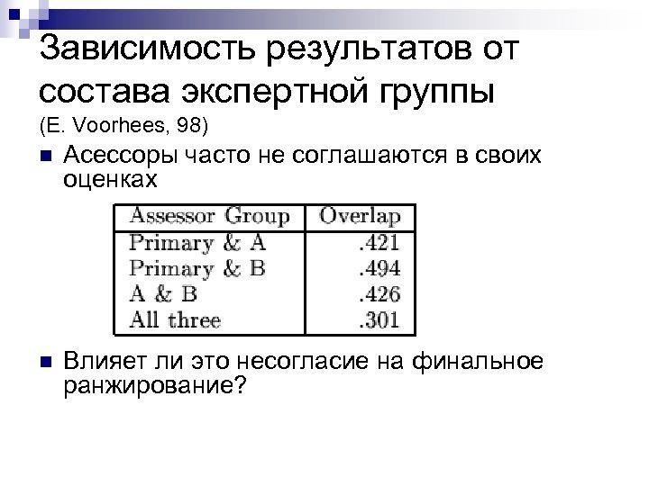 Зависимость результатов от состава экспертной группы (E. Voorhees, 98) n Асессоры часто не соглашаются
