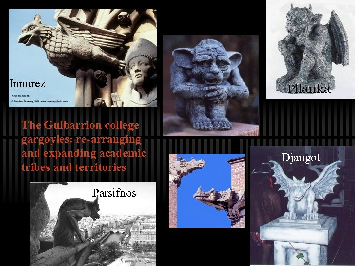 Innurez Pllanka The Gulbarrion college gargoyles: re-arranging and expanding academic tribes and territories Parsifnos